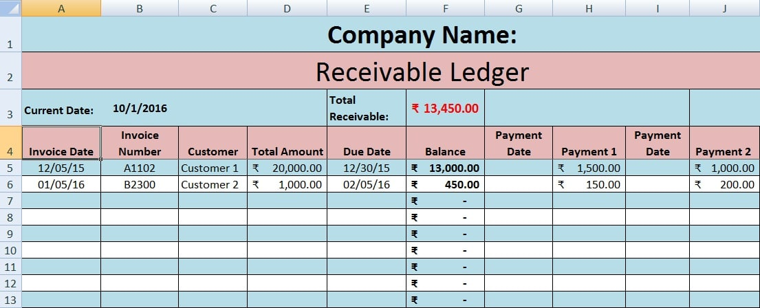 Download Accounts Receivable Excel Template  Ledger Template Free