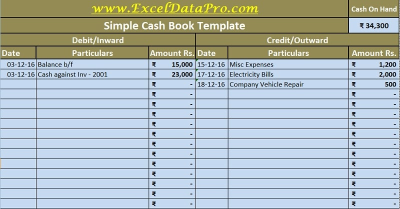 Download Cash Book Excel Template