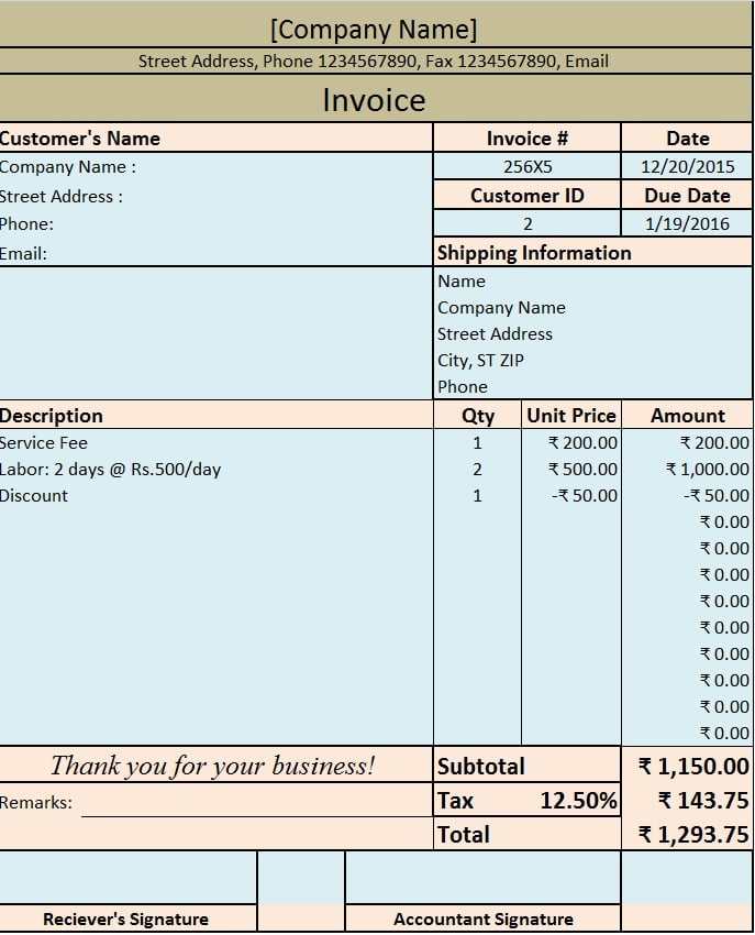 Download Invoice / Bill Excel Template  Invoice Billing