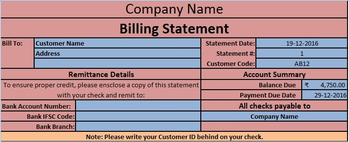 Screen Shot Billing Statement Template