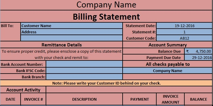 Download Billing Statement Excel Template - Exceldatapro