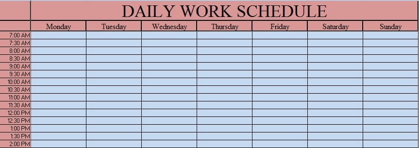 see image below for an overview of the daily work schedule template