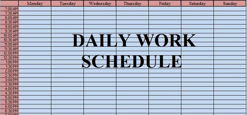 Download Daily Work Schedule Excel Template