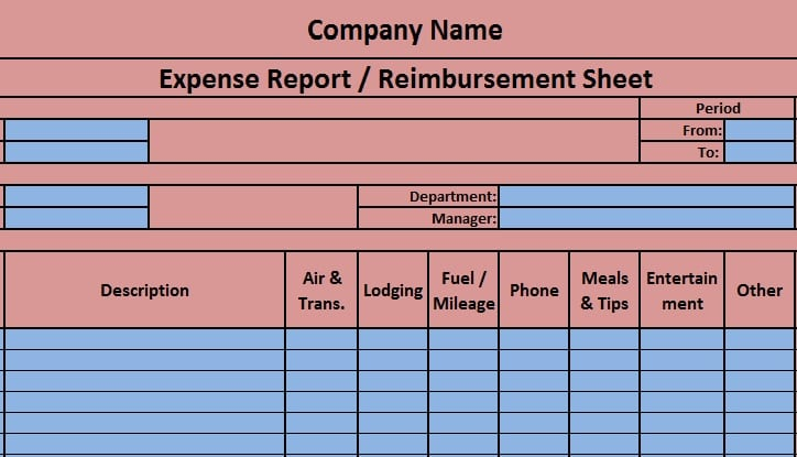 Download Expense Report Excel Template