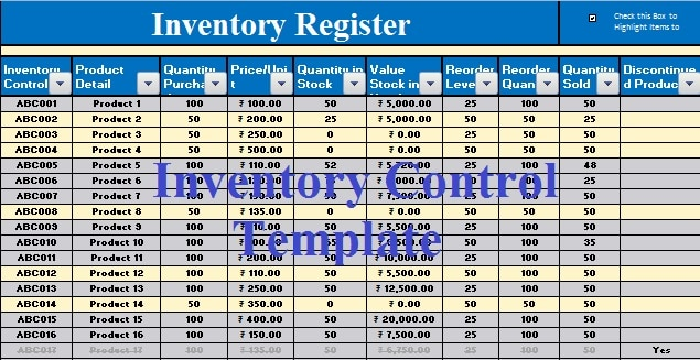 Download Inventory Control Excel Template - ExcelDataPro