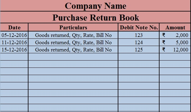 Download Purchase Return Book Excel Template