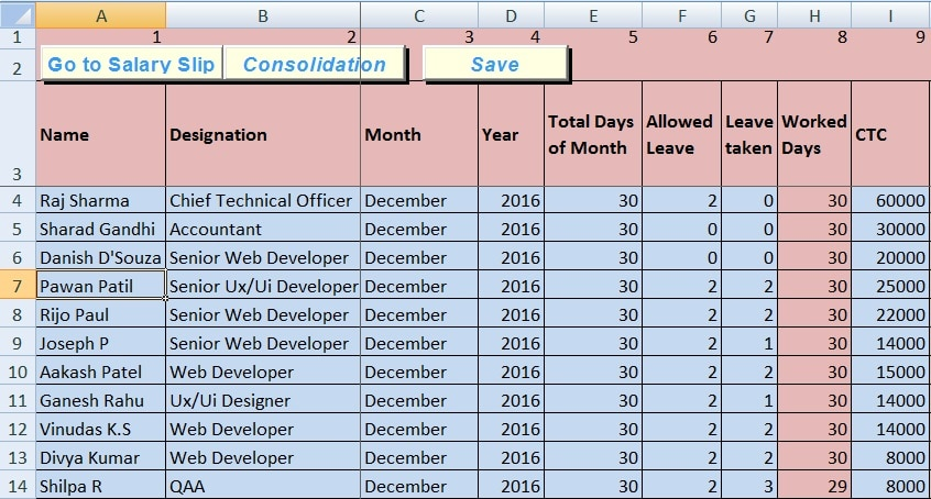 Download Salary Sheet Excel Template - ExcelDataPro