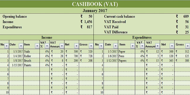 Cash Book VAT