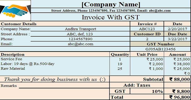 Download Invoice With Proposed GST In Union Budget 2017 Excel Template  Free Download Tax Invoice Format In Excel