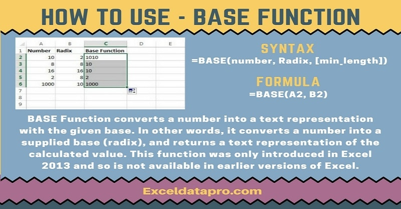 How To Use: BASE Function