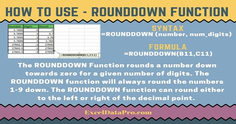How To Use: ROUNDDOWN Function