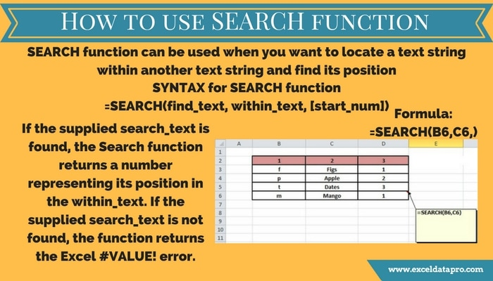 How To Use: SEARCH Function