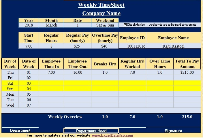 Download Weekly Timesheet Excel Template - Exceldatapro