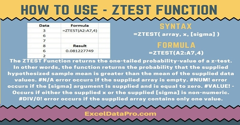 How To Use: ZTEST Function