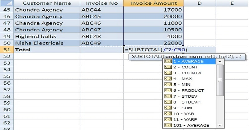 How To SUM Filtered Data Using SUBTOTAL Function In Excel