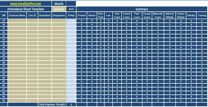 Download Employee Attendance Sheet Excel Template