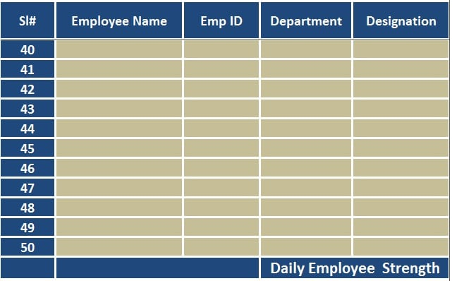 Attendance Sheet  Office Attendance Sheet Excel Free Download