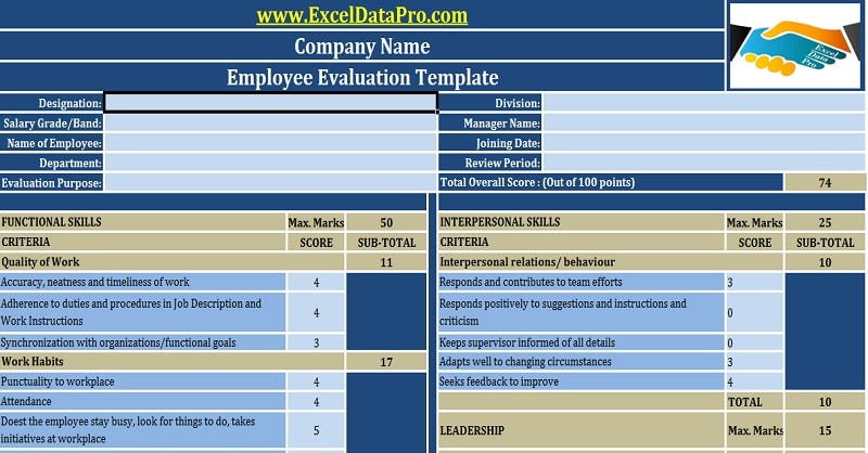 Download Employee Evaluation or Employee Performance Evaluation Excel Template