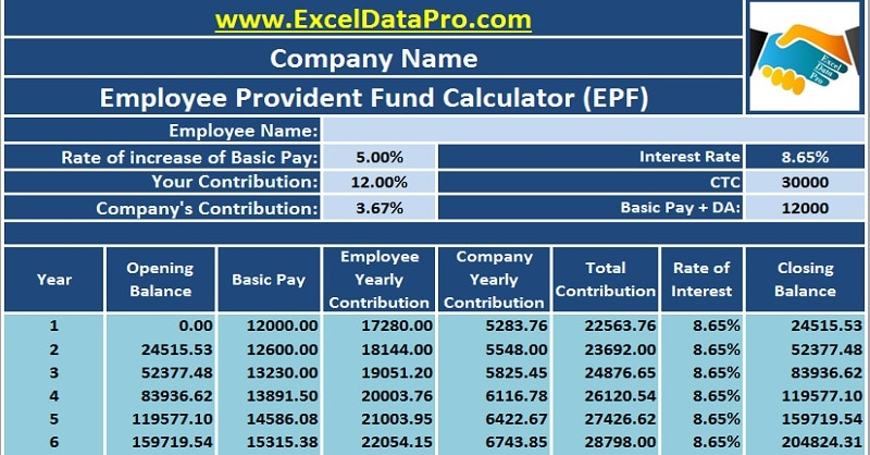 Download employee provident fund calculator excel template for Cost to build calculator free