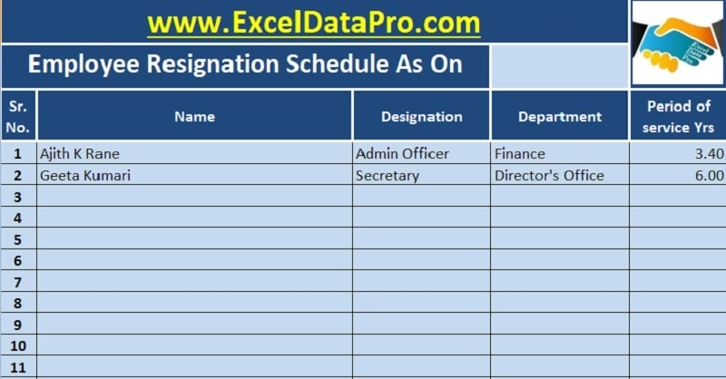 download employee resignation schedule excel template exceldatapro