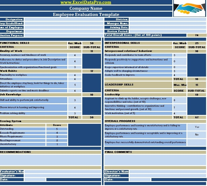 employee performance reviews templates - download employee evaluation or employee performance