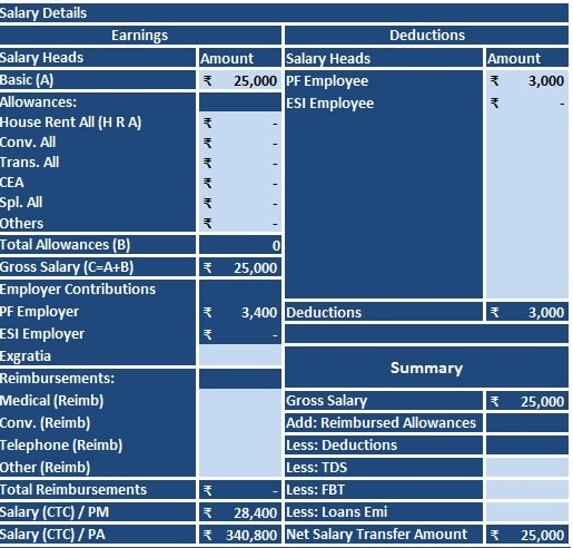 Salary Slip Template  Download Salary Slip