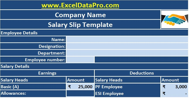Download Corporate Salary Slip Excel Template  Employee Salary Slip Sample