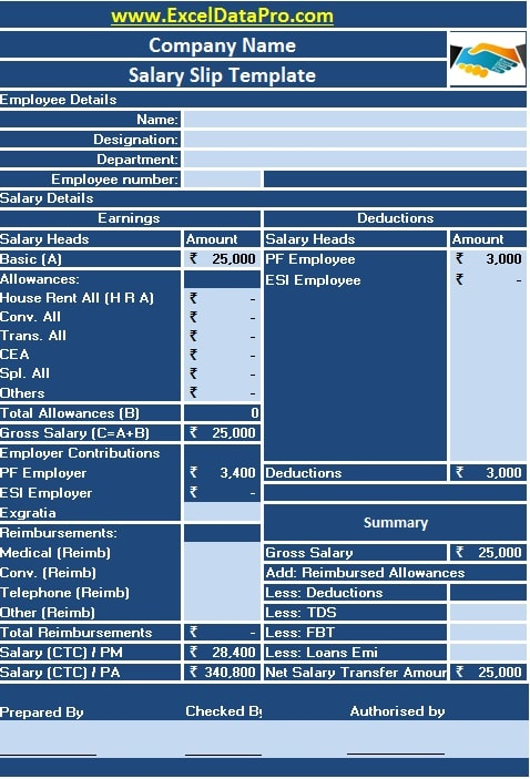 Salary Slip Template  Download Salary Slip Format