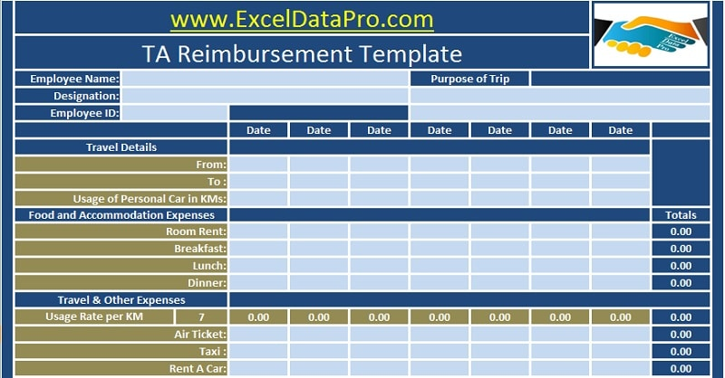 Download Employee Ta Reimbursement Excel Template  Exceldatapro