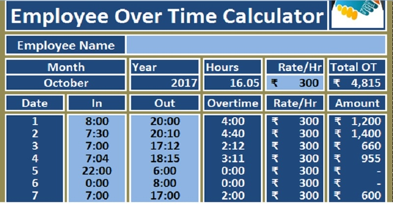 Download Employee Over Time Calculator Excel Template - Exceldatapro