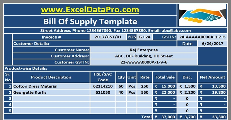 Download Gst Bill Format In Excel For Non Taxable Goods And