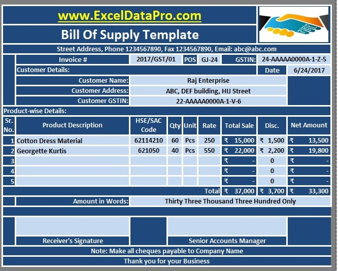 Download GST Bill Format In Excel For NonTaxable Goods And Services - Simple invoice format in excel for service business
