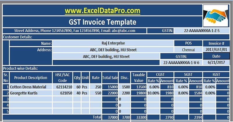 Download GST Invoice Excel Template In Compliance With GST Bill - Job work invoice format in excel for service business
