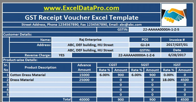 Excel Invoice Template Gst