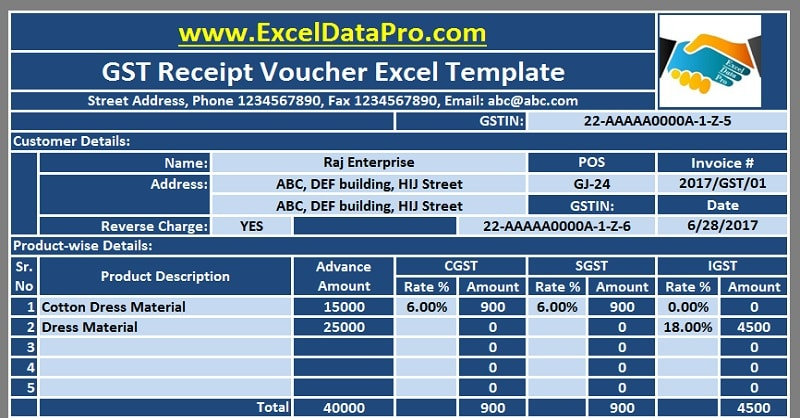 Download GST Receipt Voucher Excel Template For Advance Payments Under GST