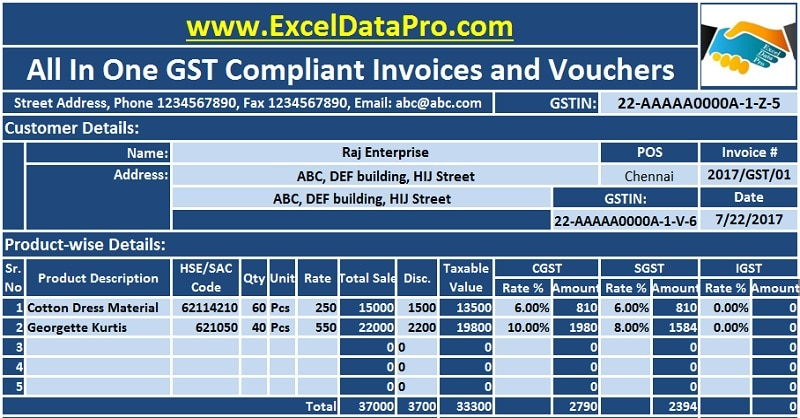 Download GST Compliant Invoices and Vouchers Formats In Excel