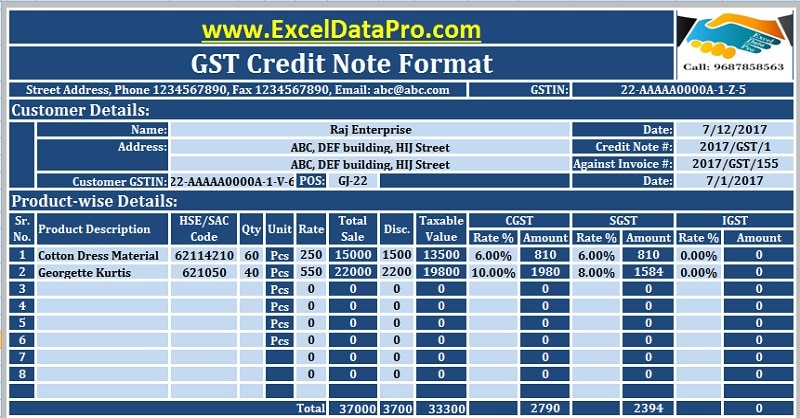 Download GST Credit Note Format In Excel Issued Against Goods Return Or Over Billing