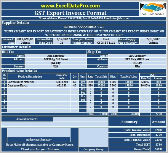 Download GST Export Invoice Format In Excel Under GST Regime - Commission invoice format for service business