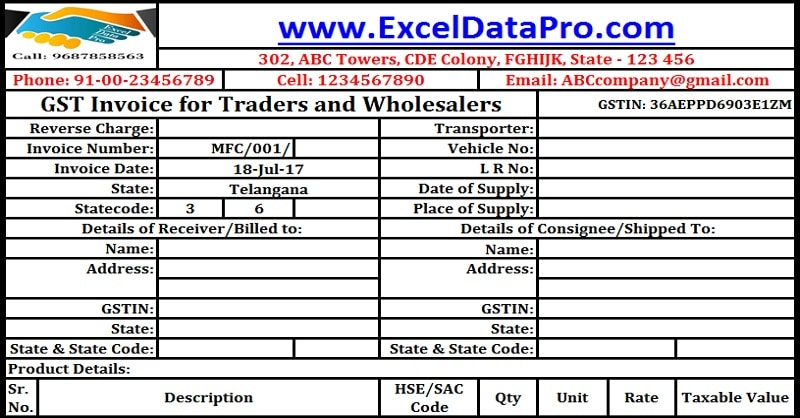 Download GST Invoice Format For Traders And Wholesalers In Excel - Invoice format in word doc online fabric store