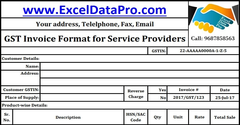 Download GST Invoice Format For Service Providers In Excel  Sample Invoice Excel