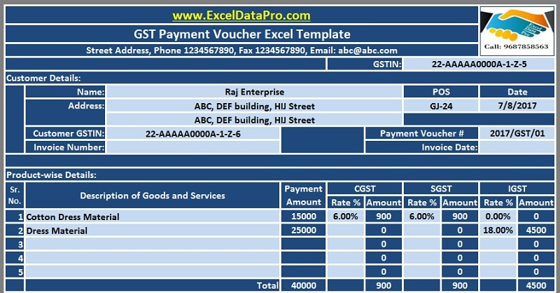 Download GST Payment Voucher Excel Template for Payments Under Reverse Charge