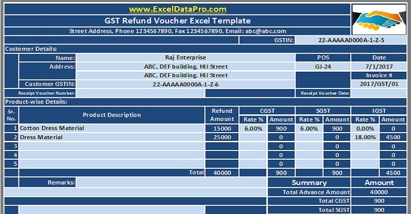 Download GST Refund Voucher Excel Template For Refunding Advance Under GST