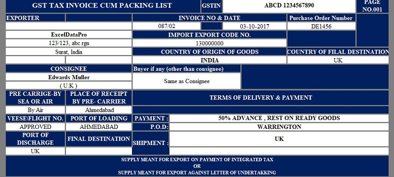 GST Export Invoice