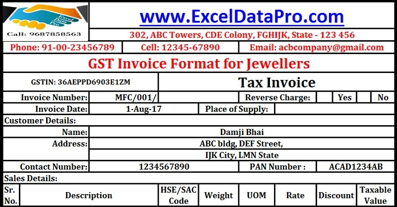 GST Invoice format for Jewelers