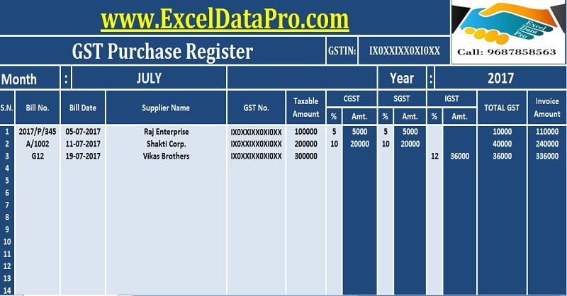 Download GST Purchase Register Excel Template