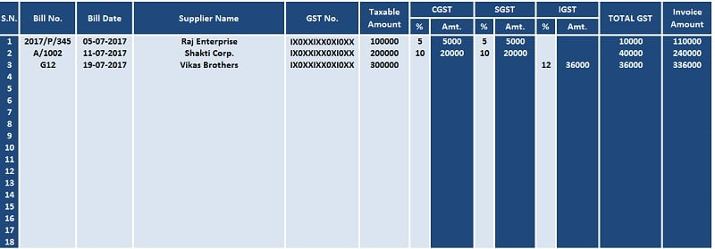 GST Purchase Register