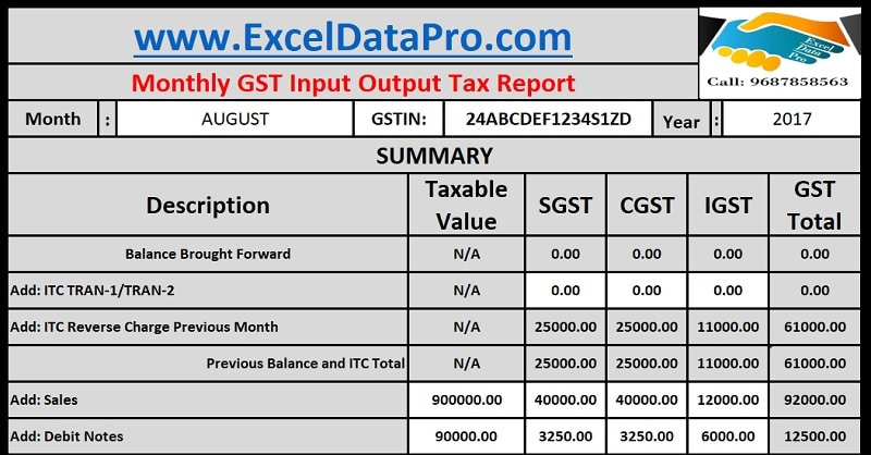 Download Monthly GST Input Output Tax Report Excel Template