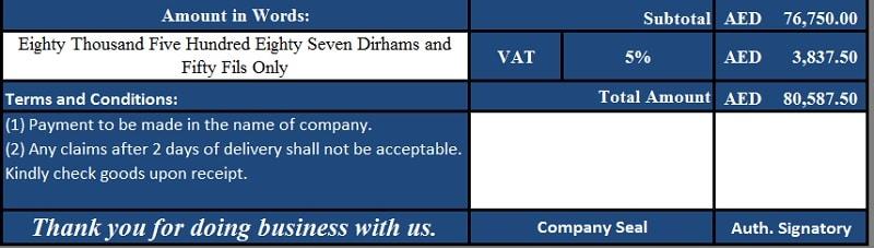 UAE VAT Tax Invoice