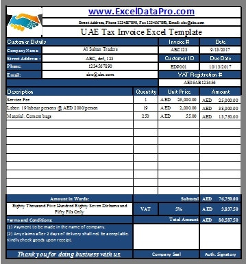 UAE VAT Tax Invoice