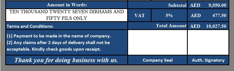 VAT Credit Note